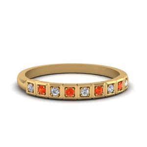 Gold Block Design Orange Topaz Band
