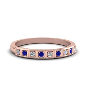 Block Pave Diamond And Sapphire Band