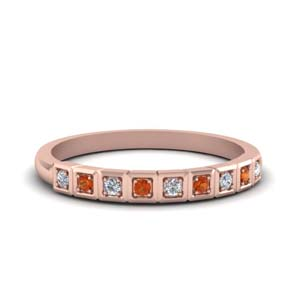 Delicate Band With Orange Sapphire