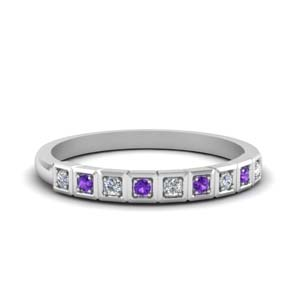 White Gold Purple Topaz Wedding Band
