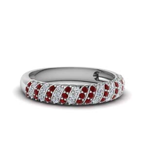 Ruby With Pave Diamond Band