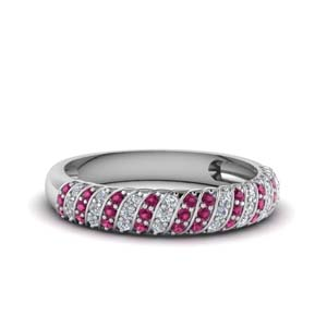 Rope Design Pink Sapphire Band