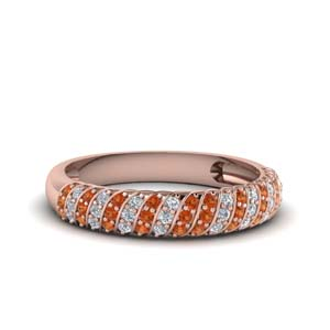 Wide Orange Sapphire Pave Band