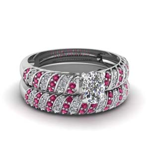 Pink Sapphire Cushion Diamond Set