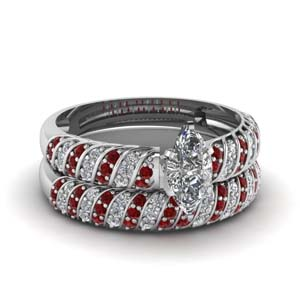 Ruby With Marquise Diamond Set