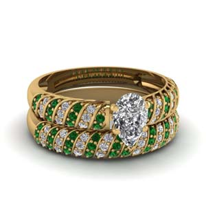 Emerald Twisted Rope Ring Set
