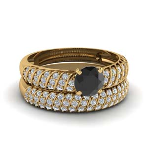 Rope Ring Set With Black Diamond