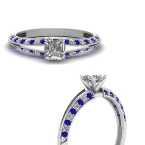 Asscher Cut Petite Split Shank Diamond Engagement Ring With Sapphire In 14K White Gold