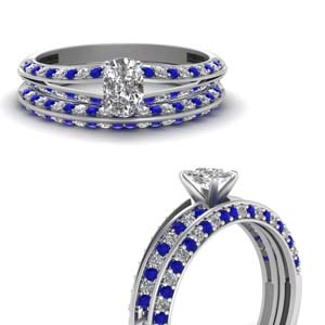 delicate split cushion diamond wedding ring set with sapphire in FDENS3049CUGSABLANGLE3 NL WG