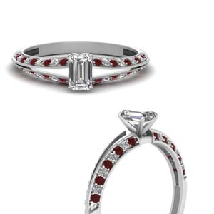 emerald cut petite split shank diamond engagement ring with ruby in FDENS3049EMRGRUDRANGLE3 NL WG