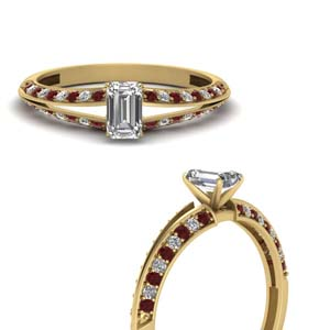 emerald cut petite split shank diamond engagement ring with ruby in FDENS3049EMRGRUDRANGLE3 NL YG