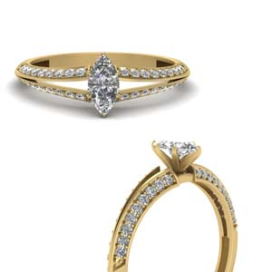 Marquise Shaped Diamond Side Stone Rings