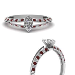 delicate split marquise diamond engagement ring with ruby in FDENS3049MQRGRUDRANGLE3 NL WG