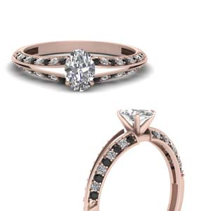 Oval Shaped Petite Split Shank Engagement Ring With Black Diamond In 18K Rose Gold