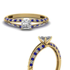 Princess Cut Petite Split Shank Diamond Engagement Ring With Sapphire In 14K Yellow Gold