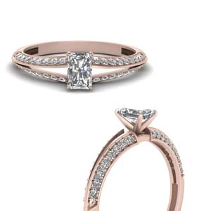 radiant cut petite split shank diamond engagement ring in FDENS3049RARANGLE3 NL RG