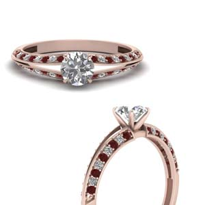 Round Cut Petite Split Shank Diamond Engagement Ring With Ruby In 14K Rose Gold