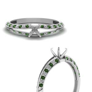 Radiant Cut Petite Split Shank Diamond Engagement Ring With Emerald In 14K White Gold