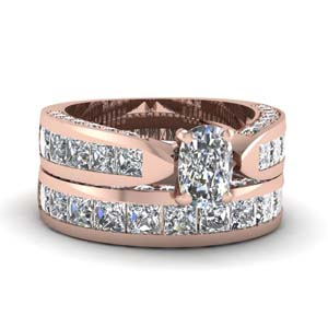 cushion cut pave channel accent diamond bridal set in 14K rose gold FDENS304CU NL RG