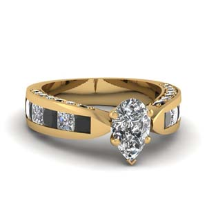 Pear Shaped Pave Set Ring