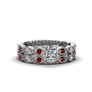 Twisted Ruby Antique Bridal Set