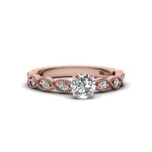 Round Diamond Milgrain Design Ring