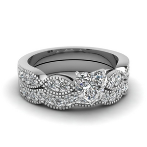 Art Deco Wedding Ring Set