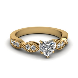 Milgrain Heart Shaped Ring