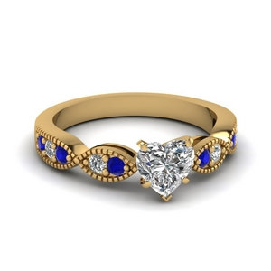 heart diamond milgrain engagement ring with sapphire in FDENS3053HTRGSABL NL YG