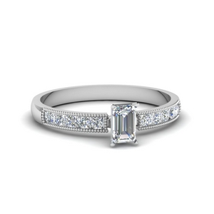 0.65 ct. emerald cut diamond milgrain engagement ring in FDENS3054EMR NL WG.jpg