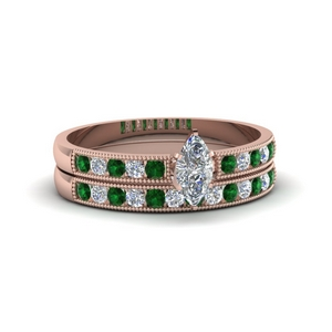 Milgrain Wedding Ring Set