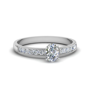0.65 Ct. Oval Diamond Milgrain Ring