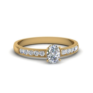 0.65 Ct. Oval Milgrain Lab Diamond Ring
