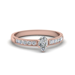 Rose Gold Pear Shaped Milgrain Engagement Rings