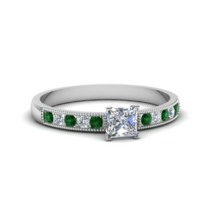 Milgrain Princess Cut Diamond Ring