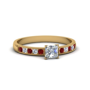 Princess Cut Petite Ruby Ring
