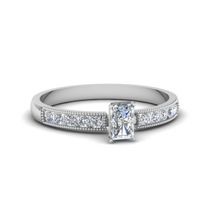 0.65 ct. radiant diamond milgrain engagement ring in FDENS3054RAR NL WG.jpg