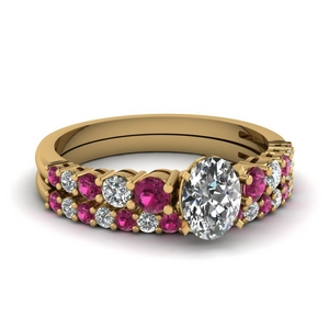 Floating Pink Sapphire Wedding Set