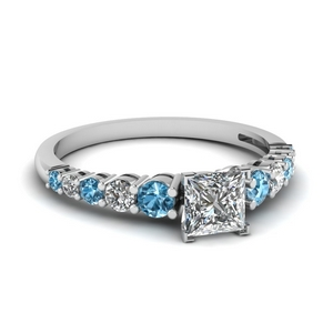 Platinum Topaz Square Diamond Ring