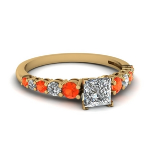 Square Orange Topaz Graduated Ring