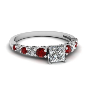 Graduated Diamond Ring With Ruby