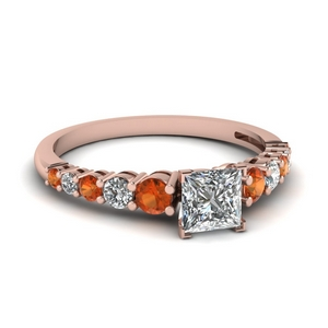 Orange Sapphire U Prong Ring