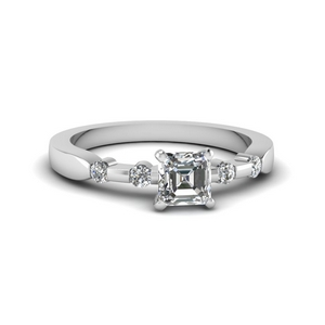 Asscher Cut Diamond Accent Ring