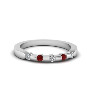 Ruby Bezel Diamond Band