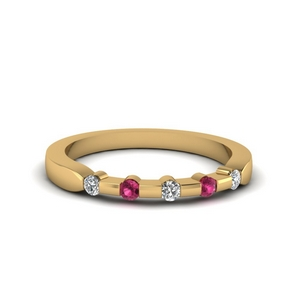 Pink Sapphire Five Stone Band