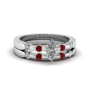 Ruby Bezel Diamond Wedding set