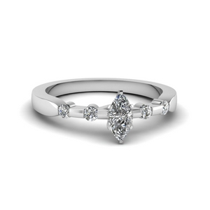 Marquise Shaped Petite Moissanite Rings