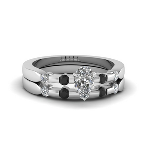 Platinum Pear Diamond Bridal Set