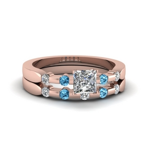 Topaz Bezel Wedding Ring Set