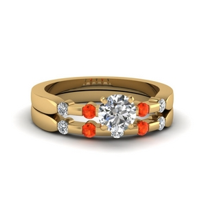 Round Diamond Orange Topaz Bridal Set